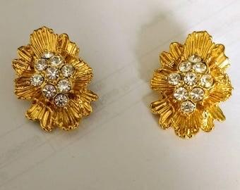 Vintage layered burst diamante clip on Earrings, Bridal, wedding, Prom