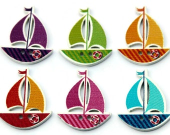 10 Sailboat Buttons - Painted Wood Buttons - 30mm x 25mm - Boat Buttons - Sail Boat Shaped Buttons - Nautical Buttons - PW337