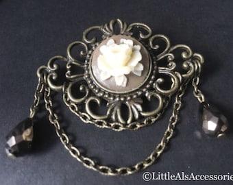Bronze Rose Brooch, Rose Brooch, Rose Fiigree Brooch, Flower Brooch, Rose Scarf Pin, Antique Style, Rose Jewelry, Flower Jewelry, Flower Pin