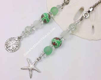 Ceiling Fan and Light Pull Chains Set with Starfish and Sand Dollar Charms Green Decor.  Nursery or Bedroom Decoration.