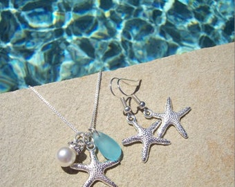 STARFISH EARRINGS and NECKLACE jewelry set - Starfish Earrings, Starfish Jewelry, Starfish Necklace, Beach Earrings, Bridesmaid Earrings