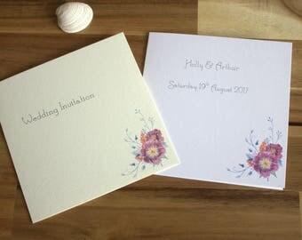 6 X 6 Mauve Flower Wedding Invitation / Sample