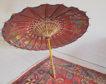 Parasol - Asian home - gypsy - vintage parasol - home decor - boho - sunshade - umbrella - painted parasol - paper parasol - Zen - Oriental