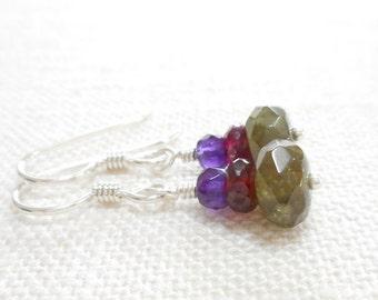 Green Garnet, Red Garnet and Purple Amethyst Earrings, Sterling Silver Gemstone Jewelry, Multicolor Stone Beaded Earrings, Dangle Earrings