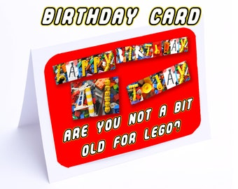 Lego Birthday Card --- Are you not a bit old for lego? (2 gifts in 1)