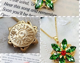 "PRE-ORDER Anastasia ""Together in Paris"" Necklace with Swarovski Crystal Gems Peridot Green Ruby Handmade Replica 16K Flower Charm Cosplay"