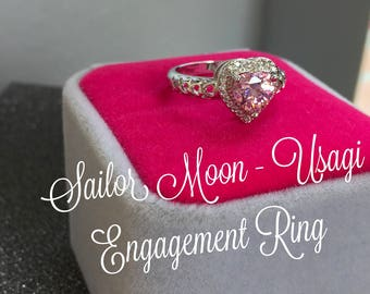 Sailor Moon Inspired Usagi Mamoru Engagement Ring Cubic Zirconia Pink Heart Anime