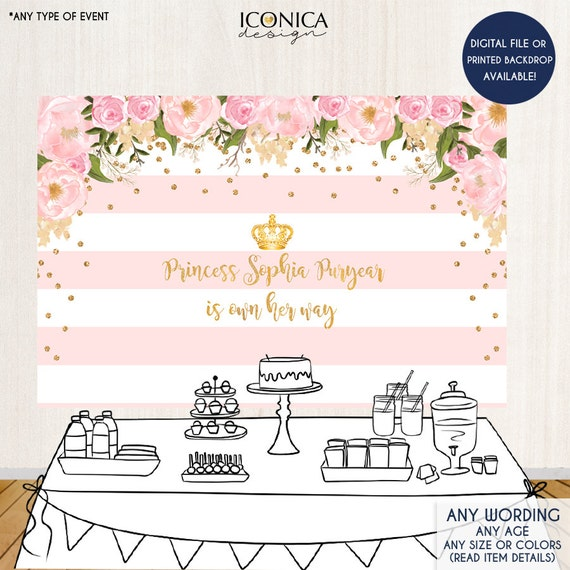 floral baby shower backdrop gold and pink dessert table banner any