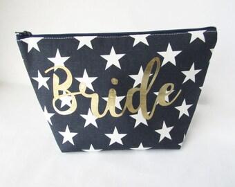 Bride Bag - Large Makeup Bag - Monogram Cosmetic Bag - Bridesmaid Bags - Toiletry Bag - Travel Bag