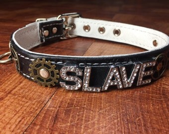"Custom Steampunk Leather bondage collar 1"" wide any name/word choose colors"