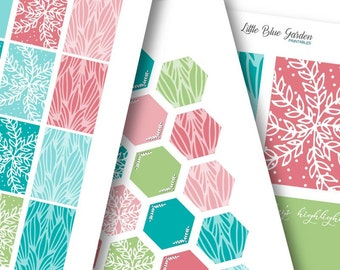 Coral & Turquoise Lovely Vines PRINTABLE Planner Stickers -Instant Download