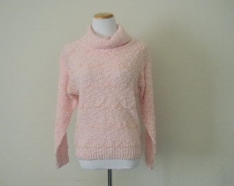 FREE usa SHIPPING Vintage ladies ribbon knit sweater grunge hipster pink sweater acrylic nylon turtleneck sweater size M
