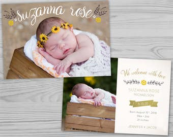 Baby Announcement Design - Sunflowers and Leaves - Printable Baby Announcement