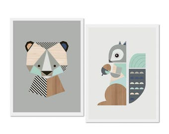 Bear and Squirrel prints (Aqua), Series of two, Nursery art, nursery decor,kids art, woodland nursery, boysroom art, gender neutral nursery.