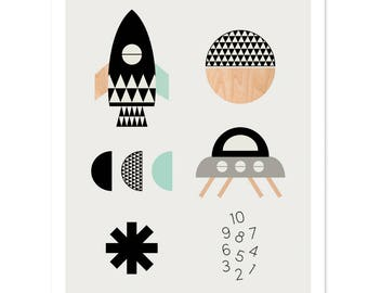 Rocket Boys' room art print, modern nursery art, scandinavian, modern nursery decor, boys art, kids art.