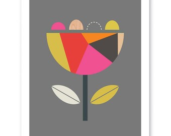 Scandi Flower (Pink and Red) Modern Art Print, Geometric Art, Scandinavian Art, Modern nursery art.