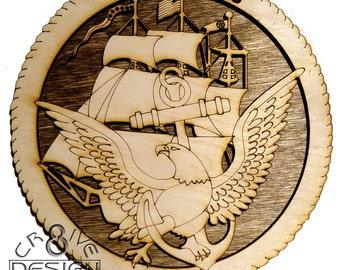 """Navy  Mini Plaque 6""""  CR8-0144"""