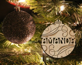 Personalized Christmas ornament, engraved Christmas ornament, tree decoration, name, Christmas tree decoration, Christmas gift, wedding