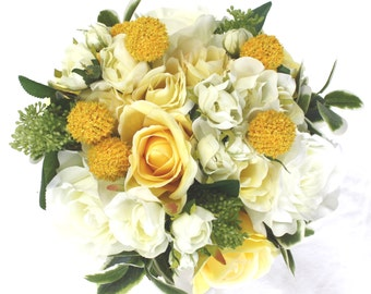 Silk Flower Bouquet for Bridesmaid - Yellow Rose Wedding Bouquet, Artificial Wedding Flower Bouquet