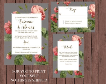 botanical wedding invitation suite, pink roses wedding invitation, Printable wedding invitation set, digital wedding invitation suite