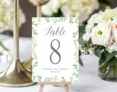BOTANICAL Printable Table Number Card Editable Template - Instant Download