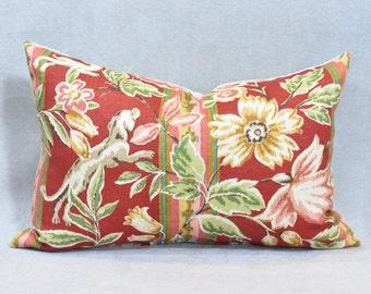 Dog on Red Linen Lumbar Pillow