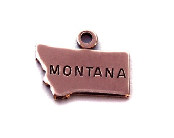 2x Rose Gold Plated Engraved Montana State Charms - M131-MT