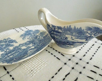 Blue Tonquin Royal Staffordshire Creamer with Plate by Clarice Cliff