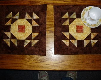 Hand quilted place mat set of 2 autumn fall colors