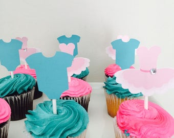 Gender reveal toppers, tutu and onesie cupcake toppers, gender reveal party