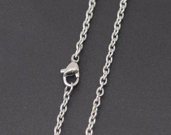 """18"""" Stainless Steel Chain - 18"""" Long x 2.4mm Wide - 1, 5, or 10 Finished Chains (single or bulk)"""