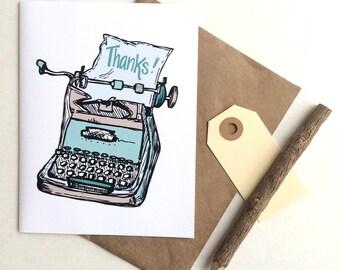 Typewriter Thank You Greeting Card