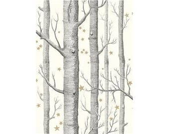 Wallpaper-Cole & Son WOODS AND STARS by the Roll Black/White/Linen/Charcoal/Midnight