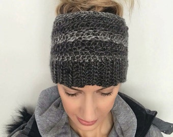 Ponytail and bun opening hat crochet hat cute beanie