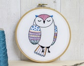 Owl Contemporary Embroidery Kit - Embroidery Hoop Art - Modern Embroidery Kit - Hand Embroidery Kit - Craft Kit - Embroidery Pattern