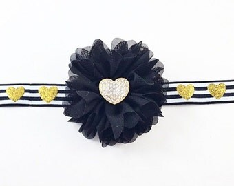 Black and Gold Heart Headband, Valentine's Day Headband, Heart Headband, Gold Headband, Gold Heart Headband, black Birthday Headband