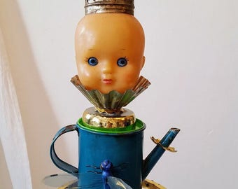 art doll Altered Art salvage vintage Tins / mixed media assemblage Tin Boxes one of a kind, handmade