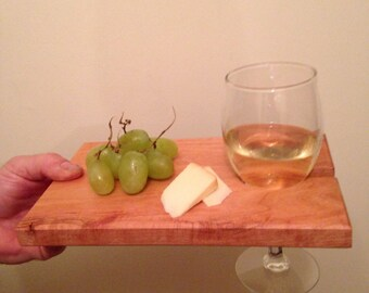appetizer tray with wine holder , handmade Maine cherry