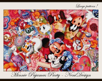 Minnie Pajamas Party - cross stitch pattern - PDF pattern - instant download!