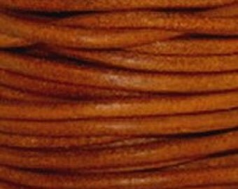 Natural Orange - 1.5 mm Round Leather Cord - By The Yard