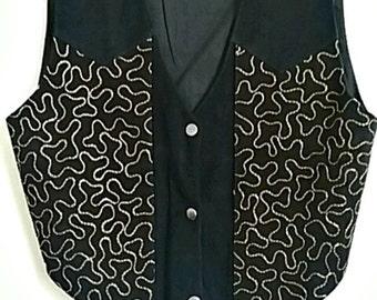 Boho Vintage Suede & Embroidered Vest -Medium