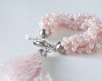 Multi strand bracelet Beaded bracelet Pink bracelet Statement bracelet Glass bead bracelet Chunky Bracelet Crochet bracelet Soft bracelet