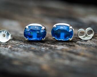 Kyanite Earrings - Kyanite stud earrings - Kyanite Jewelry - Kyanite Jewelry Blue Gemstone Earrings - Kyanite Post Earrings - Kyanite Studs