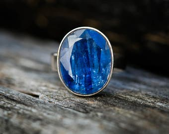 Kyanite Ring Size 10 - Kyanite & Sterling Silver Ring - Kyanite Jewelry - Kyanite Ring Size 10 Blue Kyanite - Kyanite Jewelry Blue Gemstone