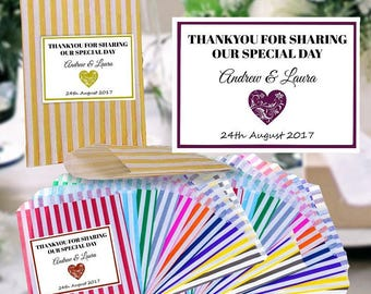 Personalised Wedding Favour - Candy Stripe Sweet Bags - Any Name Celebration Labels With Free Uk Postage - Pd1
