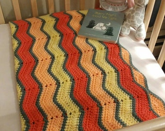 Gray, pink, peach and yellow soft baby blanket