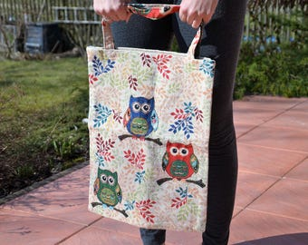 Shopping tote bags canvas bag owls