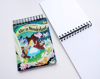 Disney Alice in Wonderland Little Golden Book Upcycled Sketchbook Notebook, Drawing Pad