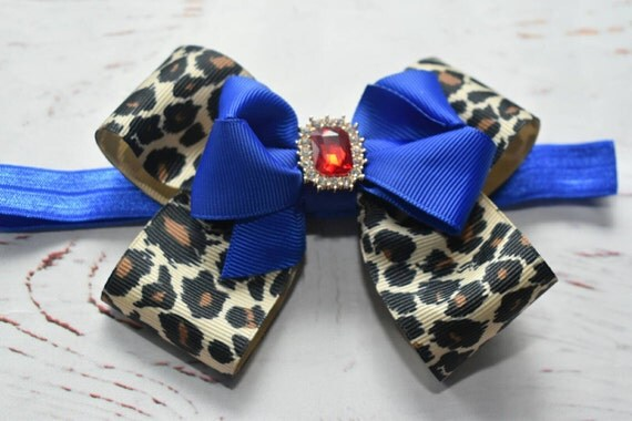Leopard print and royal blue bow - Baby / Toddler / Girls / Kids Elastic Hairclip / Hair Barrette / Hairband / Headband