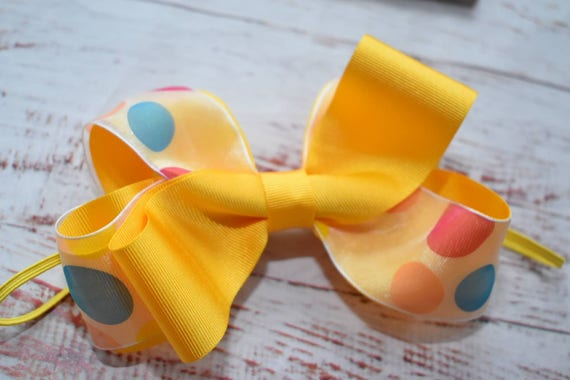 Yellow Polka Dot Bow - Baby / Toddler / Girls / Kids Headband / Hairband / Hair bow / Barrette / Hairclip